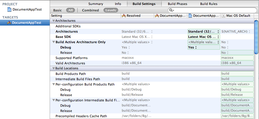 Xcode 4 Build Settings Window