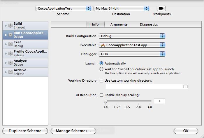 Xcode 4 Scheme Editor