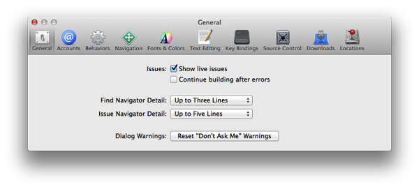 Xcode 5 Issue Navigator Prefs