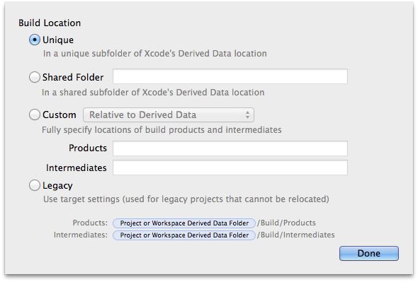 Xcode 5 Derived Data Prefs